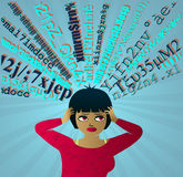 Input Overload: Girl under pressure overwhelmed by information Royalty Free Stock Photography