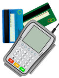 Input reader. The input reader of credit cards for the clearing settlement in shop Stock Photo