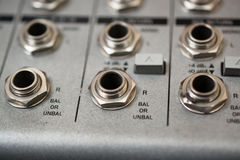 Input Sockets of the Audio Mixer. Royalty Free Stock Photos