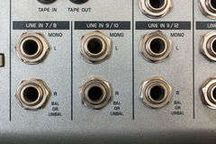 Input Sockets of the Audio Mixer. Royalty Free Stock Photo
