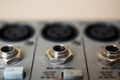 Input Sockets of the Audio Mixer. Stock Photography
