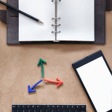 Input text idea,top view of blank organizer book and smartphone Royalty Free Stock Photography