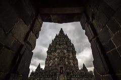 Inquadratura dell'Indonesia del tempio di Prambanan Fotografia Stock