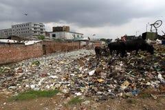 Inquinamenti alla conceria di Hazaribagh del Bangladesh fotografie stock libere da diritti