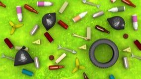 Inquinamento ambientale animazione 3D nello stile del fumetto, loopable illustrazione di stock