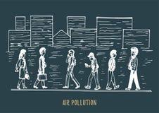Inquinamento atmosferico, illustrazione disegnata a mano Schizzo della citt? smoggy, tema dell'ambiente di contaminazione nel vet illustrazione di stock