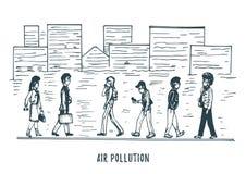 Inquinamento atmosferico, illustrazione disegnata a mano Schizzo della citt? smoggy, tema dell'ambiente di contaminazione nel vet illustrazione vettoriale