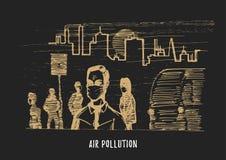 Inquinamento atmosferico, illustrazione disegnata a mano Schizzo della citt? smoggy, tema dell'ambiente di contaminazione nel vet royalty illustrazione gratis