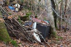 Inquinamento della famiglia in foresta Fotografia Stock Libera da Diritti