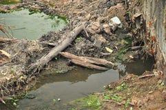 Inquinamento delle acque della famiglia Immagini Stock