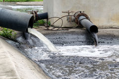 Inquinamento delle acque in fiume fotografie stock libere da diritti