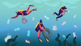 Inquinamento di plastica del mare con immondizia differente I subaquei raccolgono i rifiuti nel canestro subacqueo Sprechi che ga illustrazione vettoriale