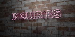INQUIRIES - Glowing Neon Sign on stonework wall - 3D rendered royalty free stock illustration Stock Image
