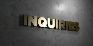 Inquiries - Gold text on black background - 3D rendered royalty free stock picture Stock Image