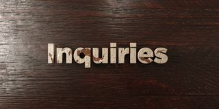 Inquiries - grungy wooden headline on Maple  - 3D rendered royalty free stock image Royalty Free Stock Images