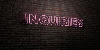 INQUIRIES -Realistic Neon Sign on Brick Wall background - 3D rendered royalty free stock image Royalty Free Stock Photography