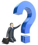 Inquiring businessman and question mark. 3D image royalty free illustration