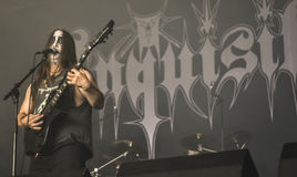 Inquisition black metal band live in concert 2016. Inquisition is a metal band that formed in Cali, Colombia in 1988 and later relocated to Seattle, Washington Stock Images