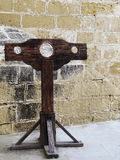 Inquisition Stocks. Medieval authentic inquisition stocks found in the Citadel in Gozo, Malta stock photos