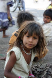 Inquisitive Beggar Girl stock images