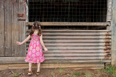 Inquisitive girl exploring old shed Stock Photography