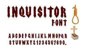 Inquisitor font. Ancient Gothic font. Font for Holy Inquisition. Stock Photography