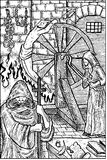 Inquistor. Engraved fantasy illustration. Medieval inquisition, torturer and victim, old jail. Fantasy magic creatures collection. Hand drawn vector Royalty Free Stock Photos