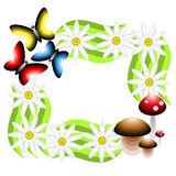 Inrama att bestå av blommor, champinjoner och fjärilar Vektor il Arkivfoton