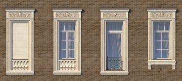 Inrama av fönster i klassisk stil på tegelstenväggen av brun färg framförande 3d Royaltyfria Foton