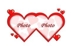 Inrama av hjärtor Arkivfoto