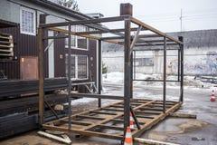 Inrama för konstruktion Kropp för lastbehållare Teknik och utveckling Fotografering för Bildbyråer