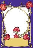 Inrama gammal färg för modestilblått med röda rosor Retro utformad vektorbakgrund arkivfoton