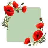 Inrama med blommor röda vallmor greeting lyckligt nytt år för 2007 kort vektor illustrationer