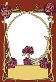 Inrama röd färg för gammal modestil med rosor Retro utformad vektorbakgrund arkivfoto