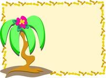 Inramad palmträd och blomma Royaltyfri Fotografi
