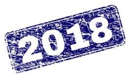 Inramad rundad rektangelstämpel för Grunge 2018 Vektor Illustrationer