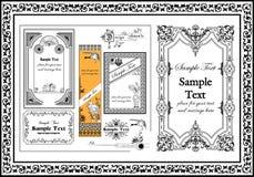 Inramar dekorativa prydnader för trevligt retro objekt svart färg royaltyfri illustrationer