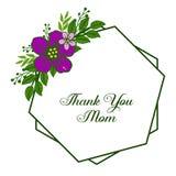 Inramar den purpurf?rgade blomman f?r vektorillustrationen blom med dekorativt av kortet tackar dig mamman vektor illustrationer