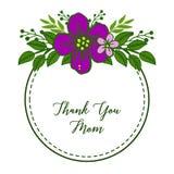 Inramar den purpurf?rgade blomman f?r vektorillustrationen blom med dekorativt av kortet tackar dig mamman stock illustrationer