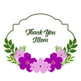 Inramar den purpurf?rgade blomman f?r vektorillustrationen blom med dekorativt av kortet tackar dig mamman royaltyfri illustrationer