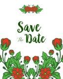 Inramar den röda kransen för vektorillustrationen blom med att gifta sig inbjudan sparar datumkorten royaltyfri illustrationer