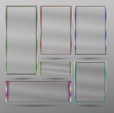Inramar det genomskinliga banret för vektorn med metall olika färger Arkivbilder