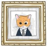 Inramat trä och kattmålningtappning Royaltyfri Fotografi