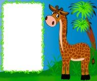 inramnin den trevliga barnkammare för giraffet Arkivfoton