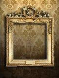 inramniner den retro wallpaperen för guld Fotografering för Bildbyråer