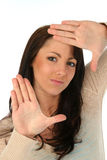 inramning kvinna för brunettframsida Royaltyfria Bilder
