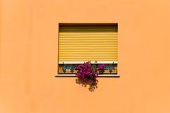 inramnintt orange väggfönster Arkivfoton