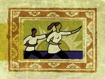 Inramnintt två folk som gör tai-chi Vektor Illustrationer