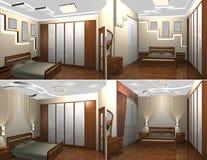 inre 3d av sovrummet Royaltyfria Foton