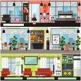 Inre affisch för vektorhem- och kontorslokalvård, baneruppsättning stock illustrationer